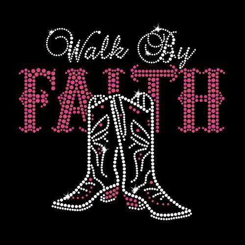 Walk By Faith Iron On Rhinestone Transfer