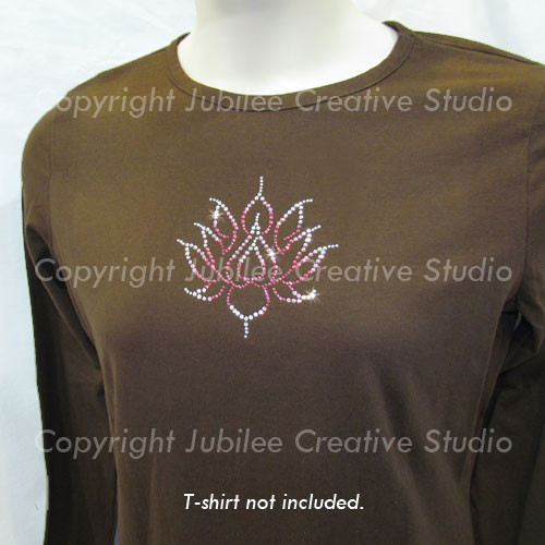 Lotus Flower Iron On Rhinestone Transfer