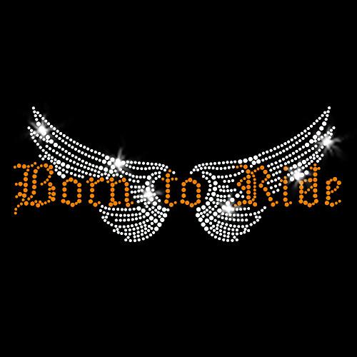 Born to Ride Iron On Rhinestone Transfer