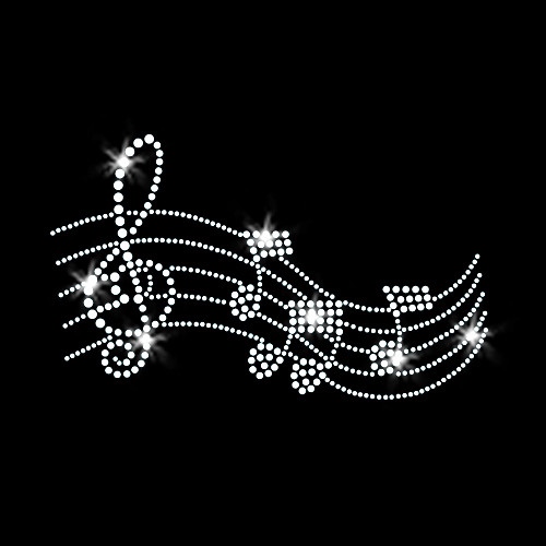 Music Melody Iron On Rhinestone Transfer