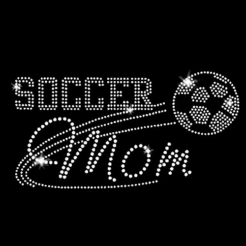 Soccer Mom Iron On Rhinestone Transfer