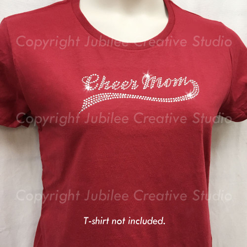 Cheer Mom Swoosh Iron On Rhinestone Transfer