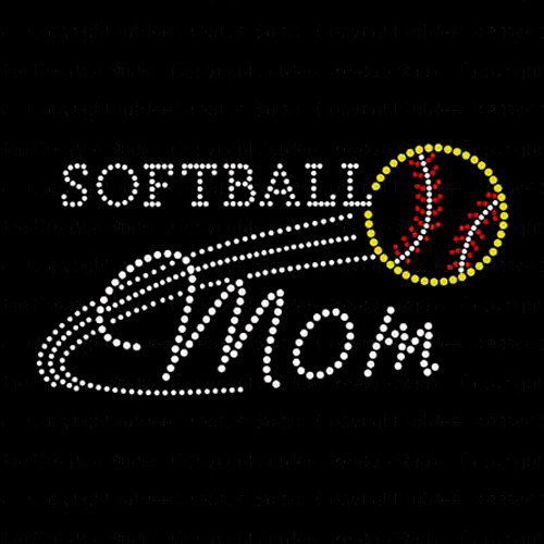 Softball Mom Iron On Rhinestone Transfer
