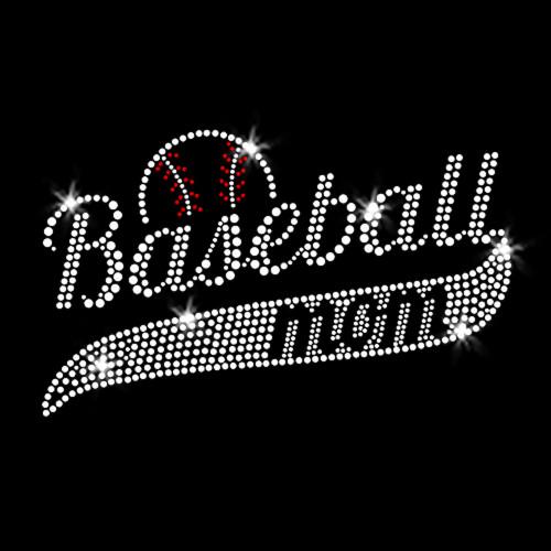 Baseball Mom Classic Iron On Rhinestone Transfer