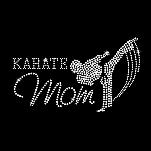 Karate Mom Iron On Rhinestone Transfer