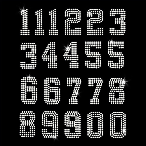 Jersey Numbers - set of 21 Iron On Rhinestone Transfer