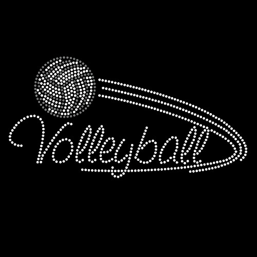 Volleyball Swoosh Iron On Rhinestone Transfer