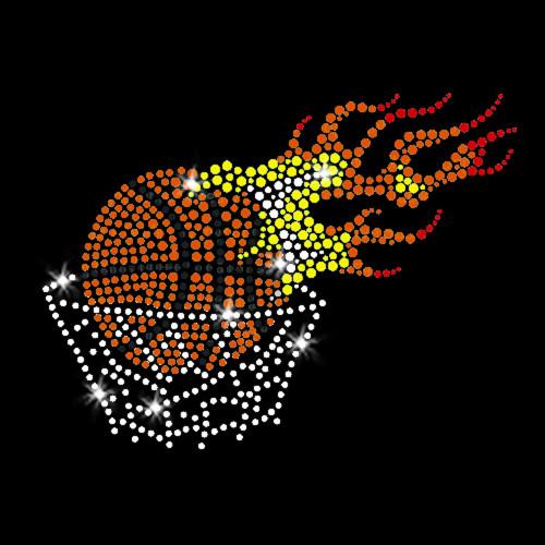 Flaming Basketball Iron On Rhinestone Transfer
