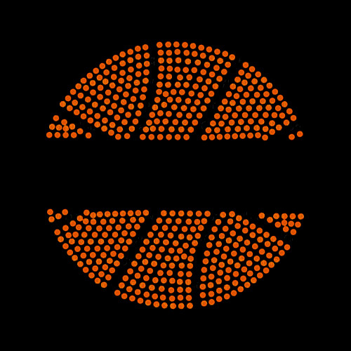 Split Basketball Iron On Rhinestud Transfer