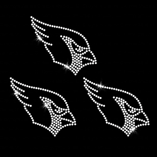 Set of 3 Small Cardinal Head Iron On Rhinestone Transfer