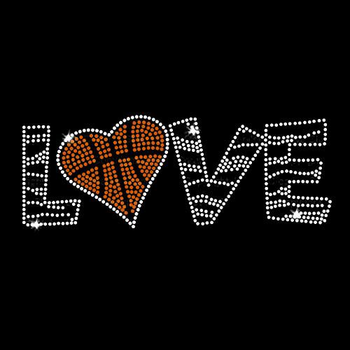 Love Basketball Iron On Rhinestone Transfer
