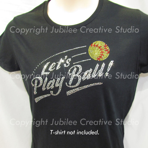 Let's Play Softball Iron On Rhinestone Transfer