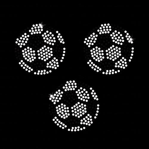 Set of 3 Soccer Balls Iron On Rhinestone Transfer -Set of 3