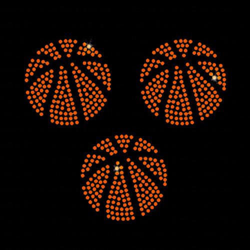 Set of 3 Basketball Balls Iron On Rhinestone Transfer