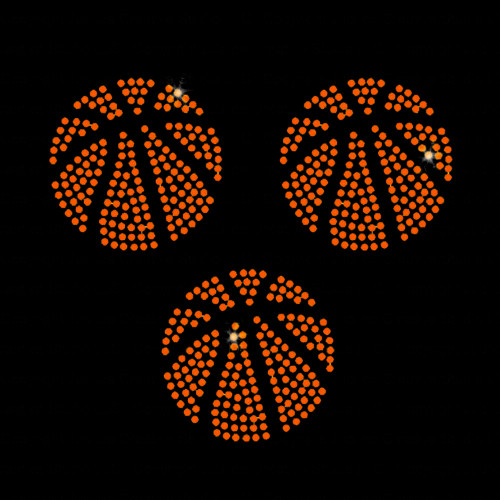 Set of 3 Basketball Balls Iron On Rhinestone Transfer