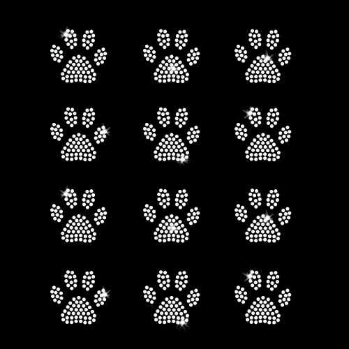 Set of 12 Mini Paw Print Iron On Rhinestone Transfers