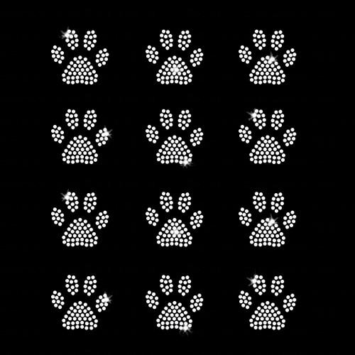 Set of 12 Mini Paw Print Iron On Rhinestone Transfers