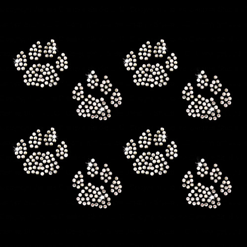 Set of 8 Cat Paw Tracks Iron On Rhinestone Transfer