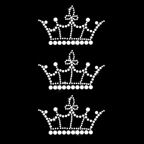 Set of 3 Crown Iron On Rhinestone Transfer