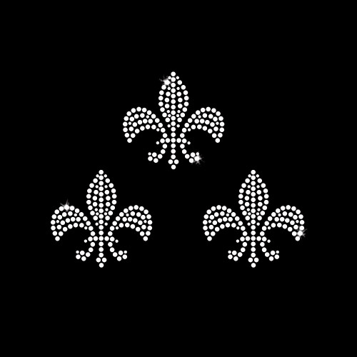 Set of 3 Small Fleur de Lis Iron On Rhinestone Transfer