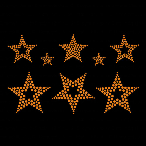 Set of 8 Gold Star Iron On Rhinestud Transfer