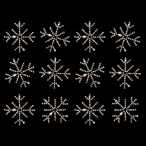 Set of 12 Snowflake Small Iron On Rhinestone Transfers