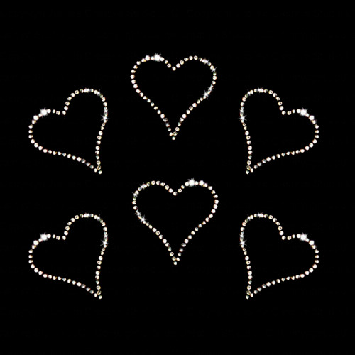 Set of 6 Small Clear Heart Iron On Rhinestone Transfer
