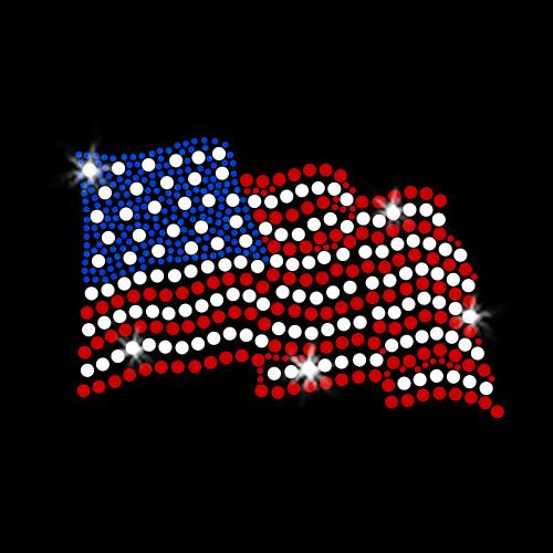 Waving American Flag Iron On Rhinestone Transfer