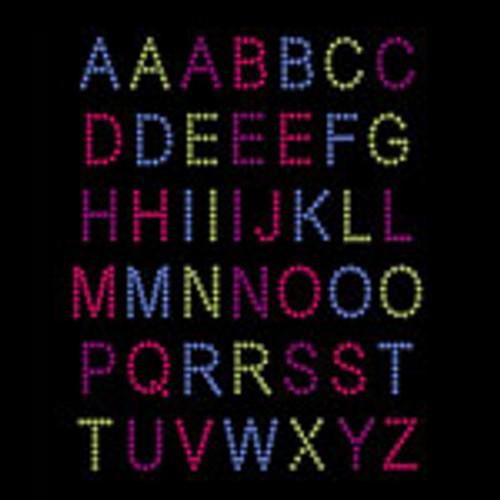 Colorful Alphabet Iron On Rhinestud Transfer