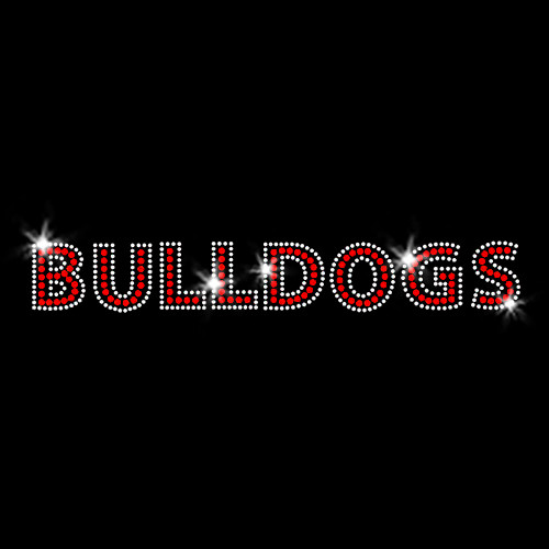Bulldogs Red Iron On Rhinestone Transfer