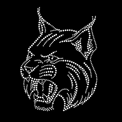 Wildcat Bobcat Face Iron On Rhinestone Transfer
