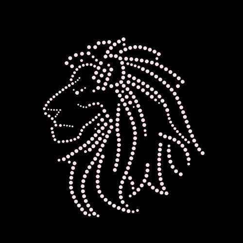 Lion Head Iron On Rhinestone Transfer