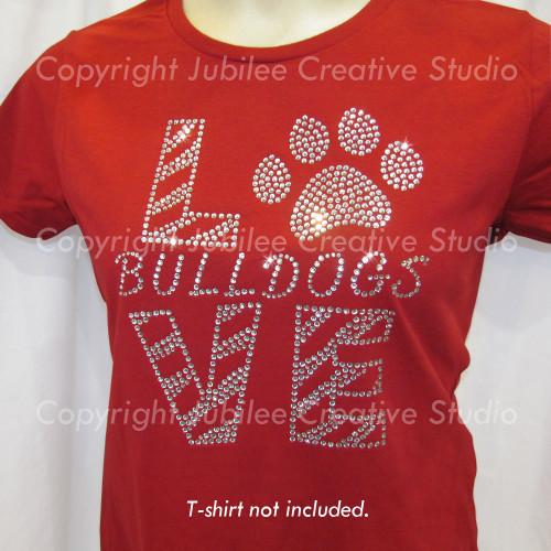 Love Bulldogs Clear Iron On Rhinestone Transfer
