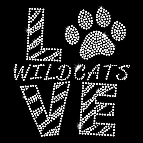 Love Wildcats Clear Iron On Rhinestone Transfer