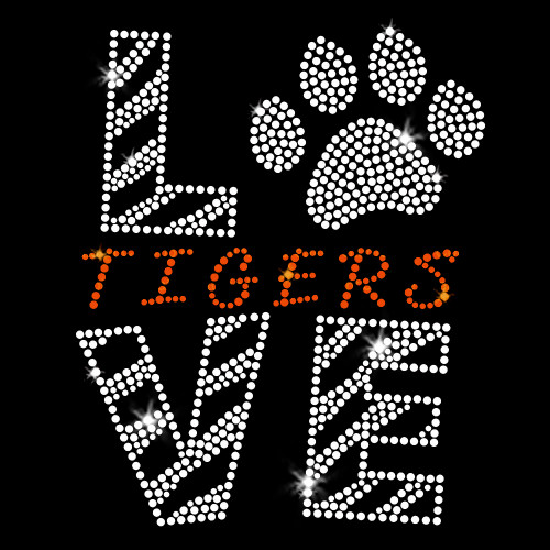 Love Tigers Orange Iron On Rhinestone Transfer