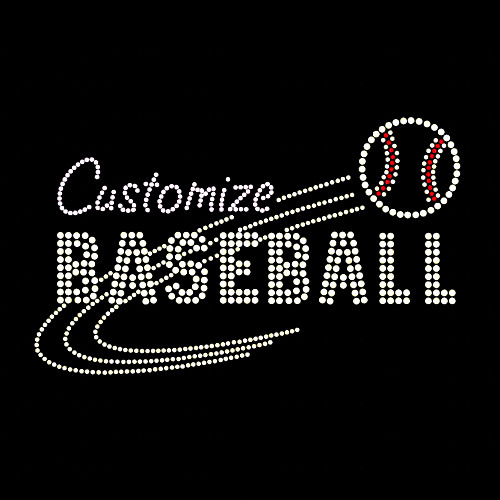 Custom Mascot Baseball Rhinestone Iron On Transfer