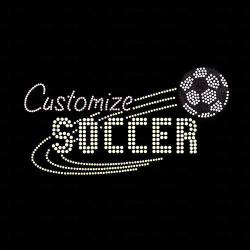 Custom Mascot Soccer Rhinestone Iron On Transfer