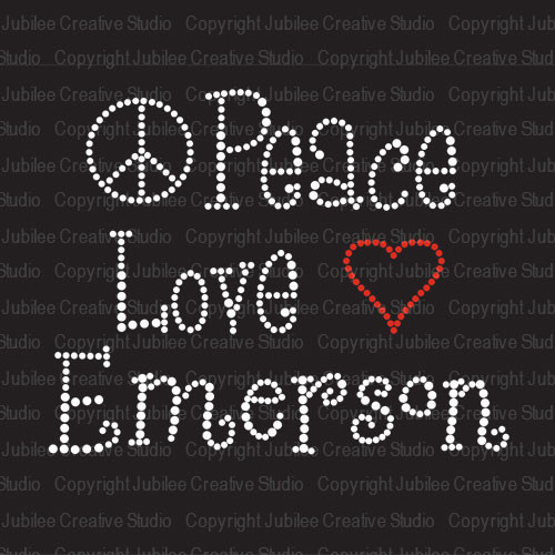Custom Peace Love Rhinestone Iron On Transfer