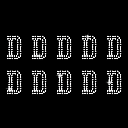 D - Athletic Jersey Letter Sheets Iron On Rhinestone Transfer