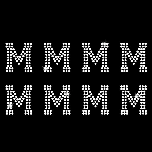 M - Athletic Jersey Letter Sheets Iron On Rhinestone Transfer