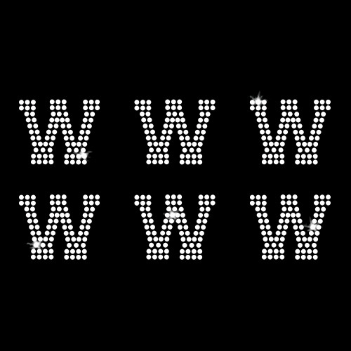 W - Athletic Jersey Letter Sheets Iron On Rhinestone Transfer