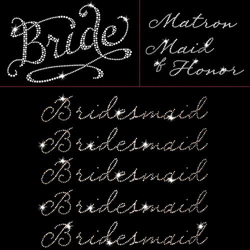 Romantic Wedding Pack - 7pc  Bride - Iron On Rhinestone Transfer
