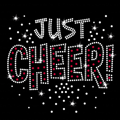 Just Cheer Iron On Rhinestone and Rhinestud Transfer