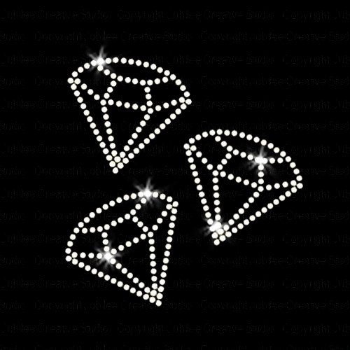 Set of 3 Diamond Solitaire Iron On Rhinestone Transfer