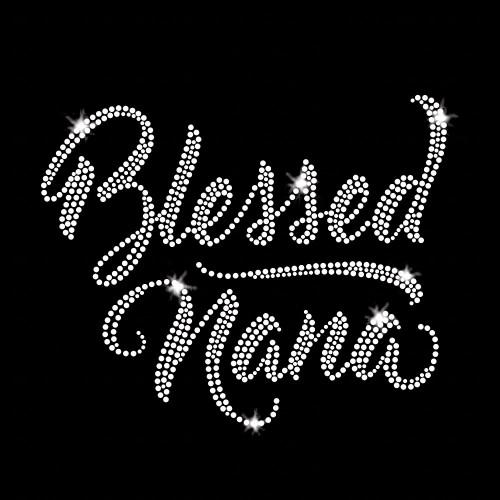 Blessed Nana Iron On Rhinestone Transfer