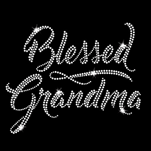 Blessed Grandma Iron On Rhinestone Transfer