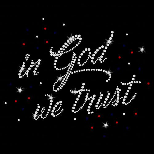In God We Trust Iron On Rhinestone Transfer