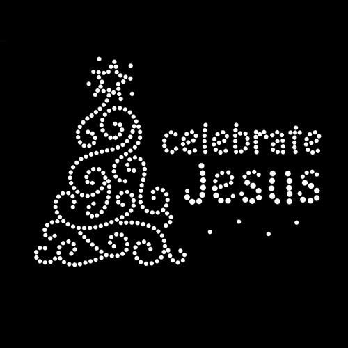Celebrate Jesus Christmas  Iron On Rhinestone Transfer
