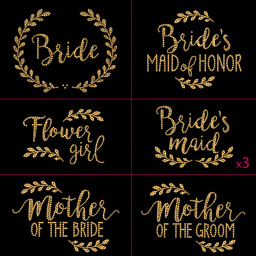 Laurel Gold Wedding Pack Iron On Rhinestud Transfer - Set of 9 Designs