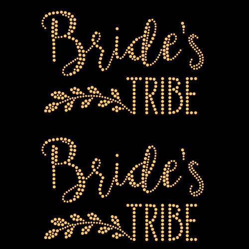 Set of 2 Laurel Bride's Tribe Iron On Rhinestud Transfer